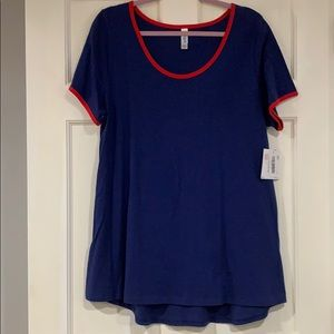 LuLaRoe blue and red Classic T shirt XL NWT